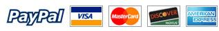 PayPal, Visa, MasterCard, Discover, and American Express