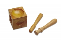 Wooden Dapping Cube and 2 Punches
